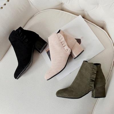 Chunky Heel Zipper Elegant Round Toe Boots_5
