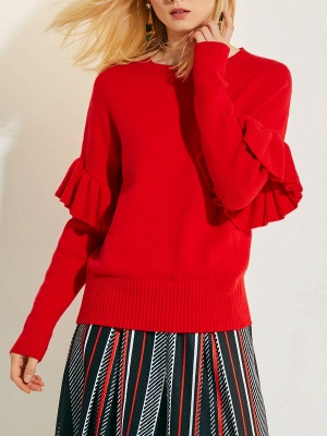 Red Casual Paneled Solid Crew Neck Sweater_1