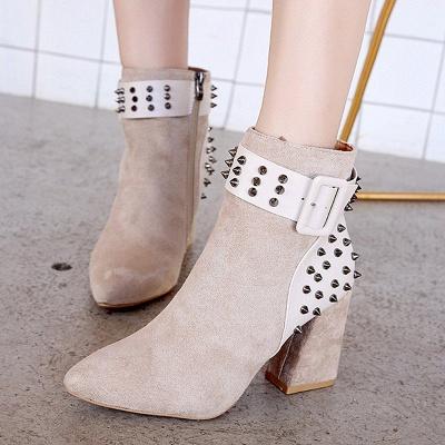 Chunky Heel Daily Rivet Pointed Toe Zipper Elegant Boots_2