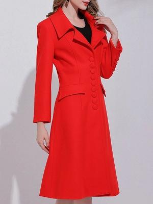 Red Buttoned Long Sleeve Work Lapel A-line Coat_1