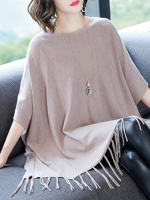 Casual Batwing Crew Neck Fringed Solid Sweater_3