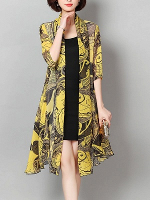 3/4 Sleeve Floral Swing Casual Printed Chiffon Coat_2