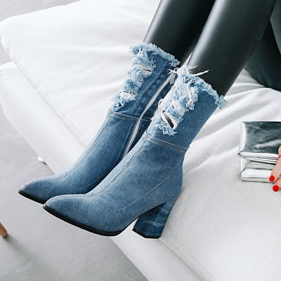 Women's Boots Dark Blue Pointed Toe Chunky Heel Boots_1