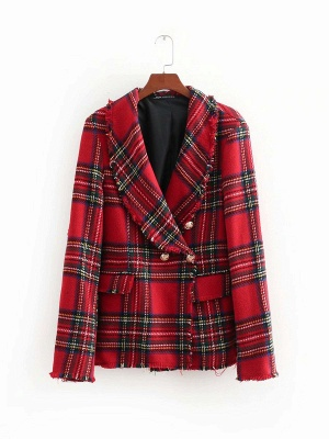 Red Work Checkered/Plaid Printed Buttoned Pockets Coat_7