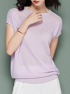 Elegant Ice Yarn Knit Short Sleeve Shift Knitted Solid Sweater_2