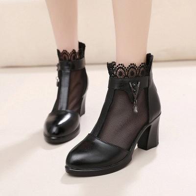 Chunky Heel Zipper Round Toe Elegant PU Boots_2