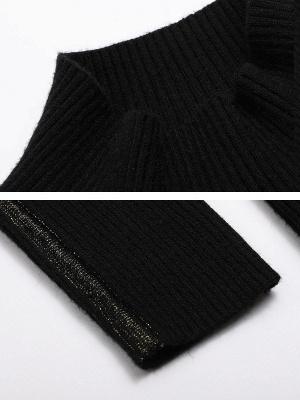 Black Casual Long Sleeve Crew Neck Sweater_5