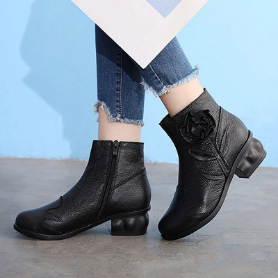 Chunky Heel Leather Flower Round Toe Boots_4