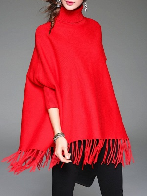Red Plain Fringed Batwing Knitted Casual Turtleneck Sweaters_7