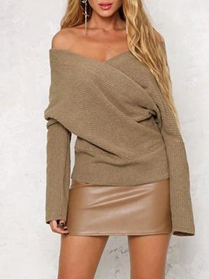 V neck Midi Dress Shift Dress Long Sleeve Casual Solid Dress_2