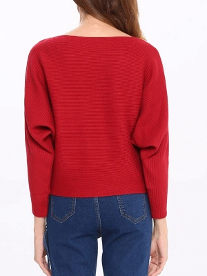 Slash Neck Batwing Simple Solid Sweater_7