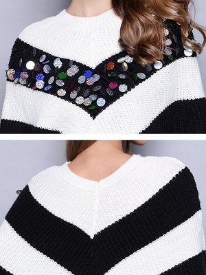 Black-white Long Sleeve Shift Cotton Sweater_5