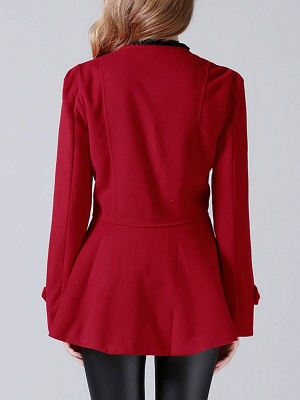 Red Buttoned Casual Shift Coat_3