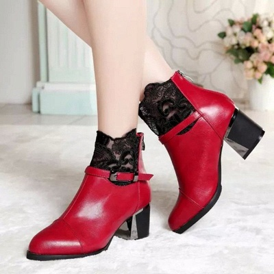 Daily Buckle Chunky Heel Pointed Toe Zipper Boots_1