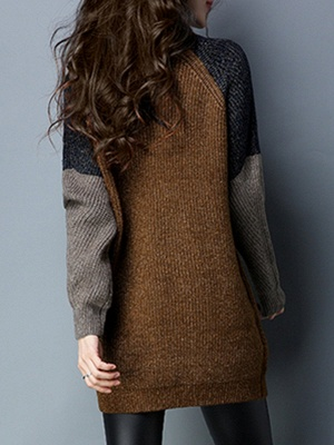 Long Sleeve Casual Intarsia Knitted Turtleneck Sweater_3