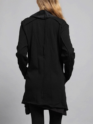 Shawl Collar Asymmetric Solid Casual Long Sleeve Coat_4