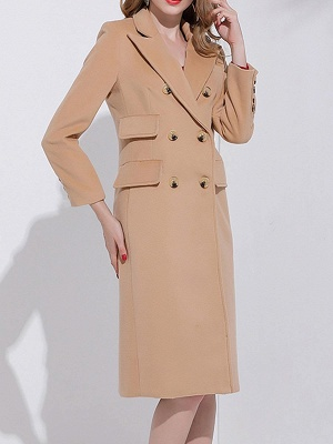 Camel Solid Long Sleeve Zipper Pockets Lapel Coat_4