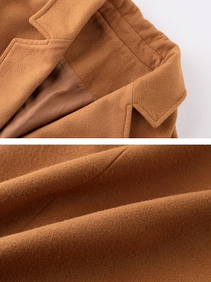 Brown Pockets Shift Solid Casual Long Sleeve Coat_5