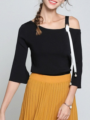 Black Casual One Shoulder Solid Sweater_1