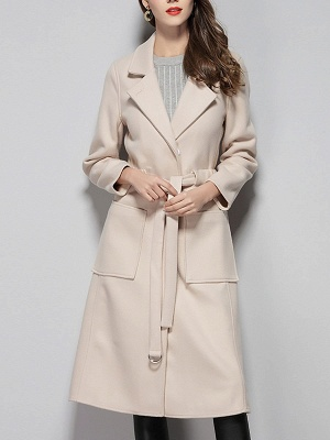 Apricot Work Wool Shift Pockets Lapel Buttoned Coat_5