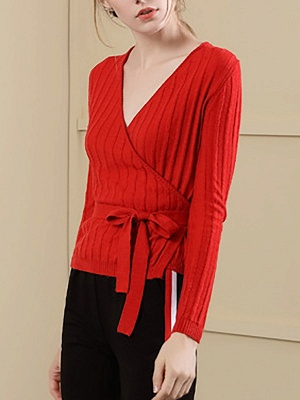 Velvet Plunging neck Casual Knitted Long Sleeve Sweater_8