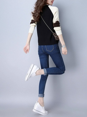Patch Long Sleeve Casual Crew Neck Sweater_10