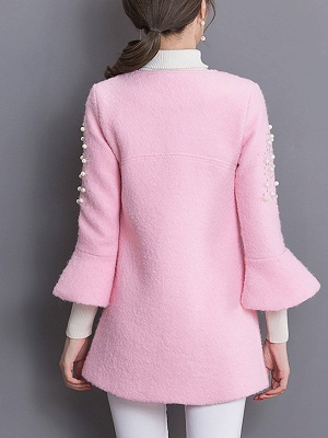Bell Sleeve Work Shift Buttoned Beaded Coat_5