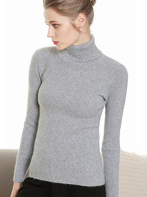 Sheath Turtleneck Ribbed Casual Long Sleeve Sweater_6