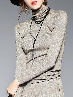 Long Sleeve Turtleneck Casual Sweater_2