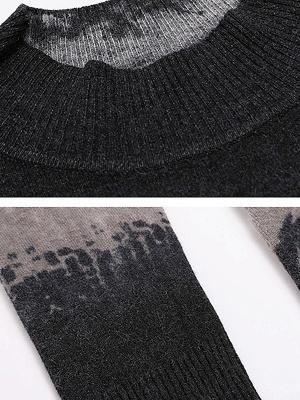 Black Casual Printed Long Sleeve Sweater_5