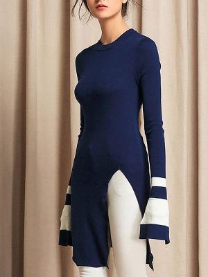 Casual Crew Neck Wool Sheath Long Sleeve Sweater_2