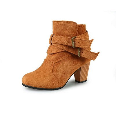 Suede Buckle Chunky Heel Daily Elegant Round Toe Boot_8