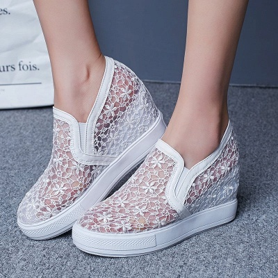Wedge Heel Embroidery Round Toe Mesh Fabric Loafers_6