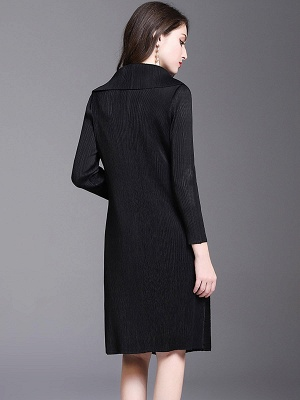 Shift Buttoned Pleated Shawl Collar Coat_8