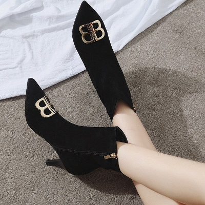 Suede Stiletto Heel Daily Pointed Toe Boot_2
