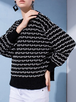 Crew Neck Long Sleeve Shift Casual Sweater_6
