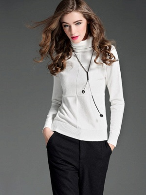 Paneled Solid Long Sleeve Casual Sweater_1