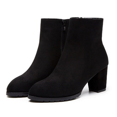 Zipper Chunky Heel Daily Pointed Toe Boots_3