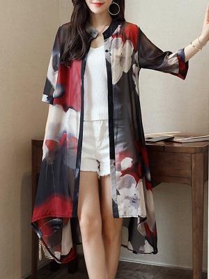 Asymmetric Stand Collar 3/4 Sleeve Holiday Chiffon Coat_5