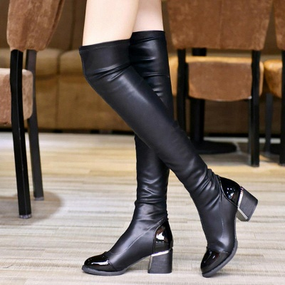 Daily Pointed Toe Chunky Heel Elegant Boots_1