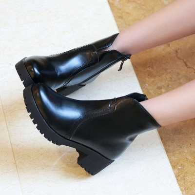 Fall PU Chunky Heel Round Toe Boot_8
