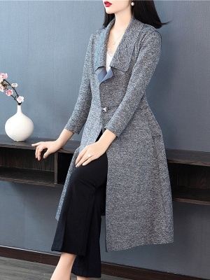 Gray Long Sleeve Casual Shawl Collar Cotton Solid Buttoned Coat_4
