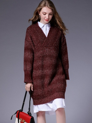 Knitted Casual Long Sleeve Shift Sweater_1