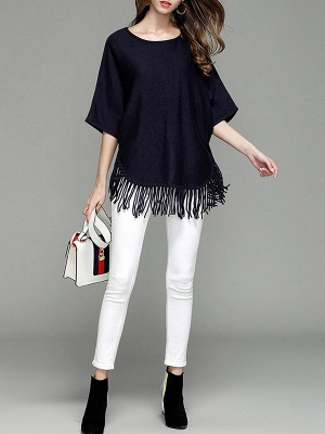Casual Solid Batwing Sweater_2