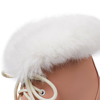 Lace-up Daily Wedge Heel Round Toe Fur PU Boot_12