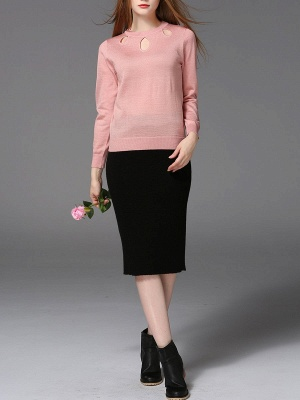 Solid Casual Long Sleeve Sweater_8