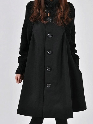 Casual Long Sleeve Turtle Neck A-line Solid Buttoned Paneled Coat_2