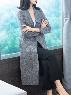 Gray Long Sleeve Casual Shawl Collar Cotton Solid Buttoned Coat_7