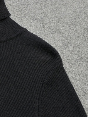 Turtle Neck Casual Bell Sleeve Pleated Sweater_8