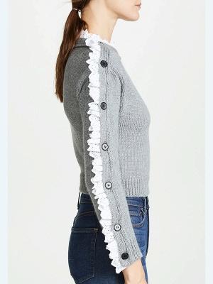 Gray Long Sleeve Wool Casual Sweater_3